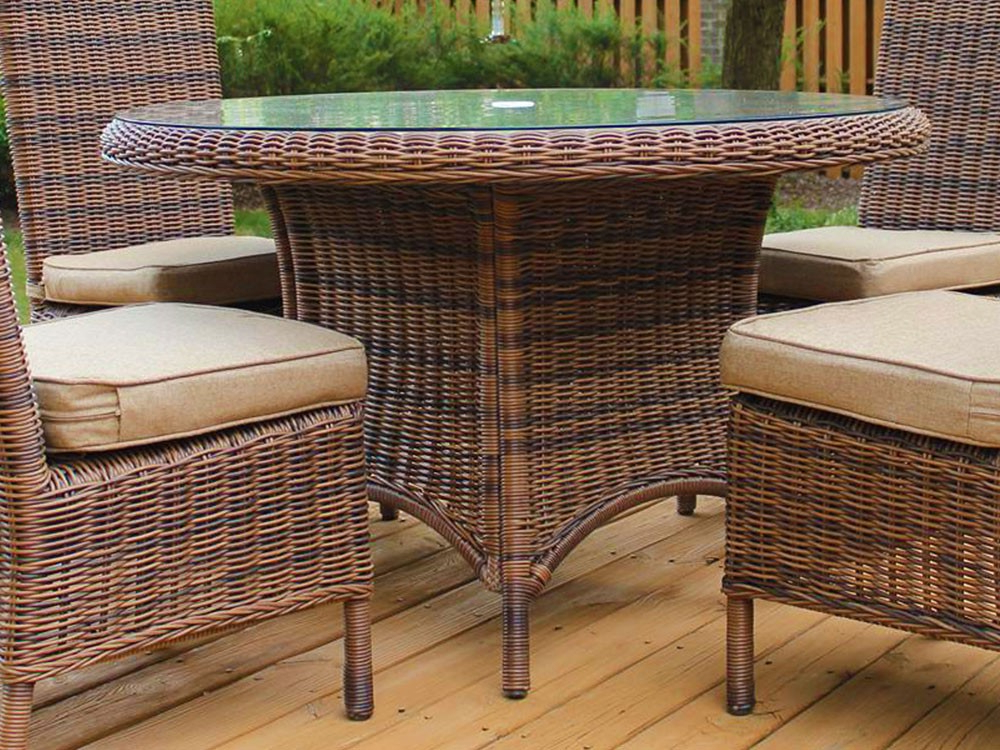 Popular Rattan Dining Tables Regarding South Sea Rattan Del Ray Wicker Round Dining Table – Wicker (Gallery 1 of 20)