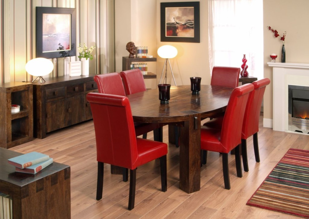 Popular Red Dining Table Sets Inside Oak Dining Table And Red Leather Chairs (View 10 of 20)