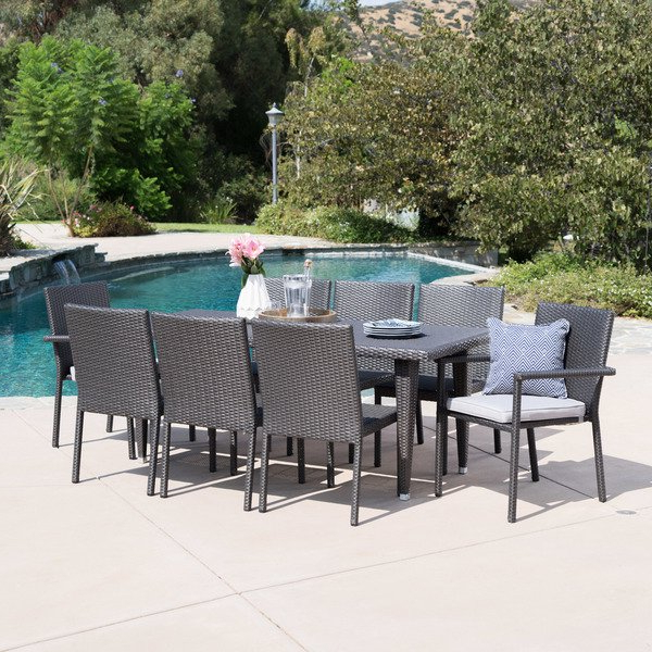Popular Shop Grady Outdoor 9 Piece Rectangular Wicker Dining Set With Pertaining To Grady 5 Piece Round Dining Sets (View 15 of 20)