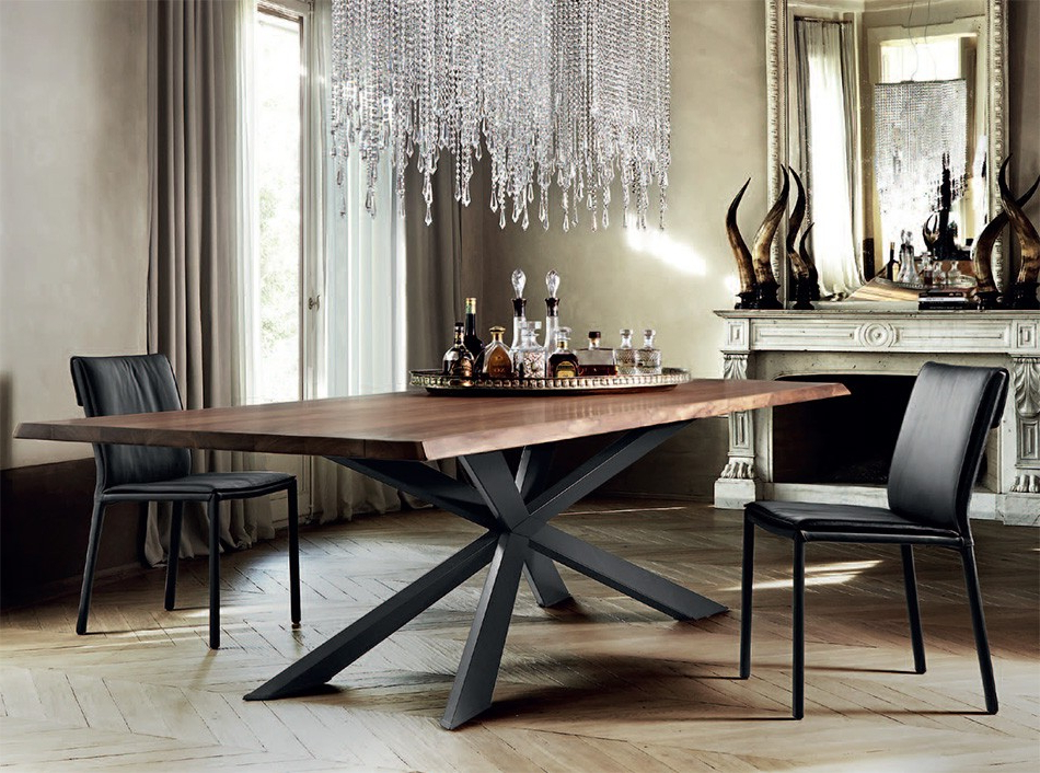 Popular Spyder Wood Dining Tablecattelan Italia – Dining Tables – Dining Regarding Dining Tables With Metal Legs Wood Top (View 7 of 20)