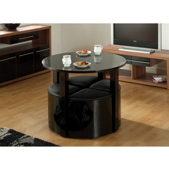 Popular Stefan Stowaway Black Gloss Round Dining Table And 4 Black Pertaining To Stowaway Dining Tables And Chairs (View 6 of 20)