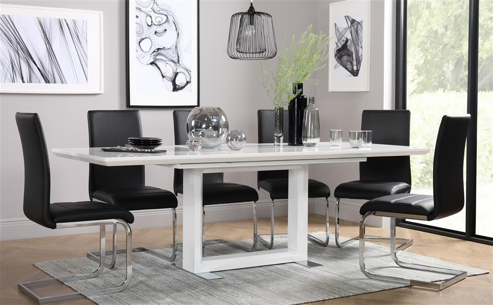 Popular Tokyo White High Gloss Extending Dining Table And 6 Chairs Set Pertaining To Black Gloss Dining Tables And 6 Chairs (View 12 of 20)