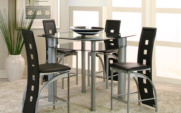 Popular Valencia Table + 4 Chairs 92780 Cramco Counter Height Dining Sets Intended For Valencia 4 Piece Counter Sets With Bench & Counterstool (View 8 of 20)