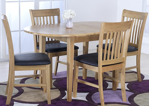 Popular Vida Living Cleo Oak Oval Extending Dining Table And 4 Chairs Set In Extending Dining Tables And 4 Chairs (Gallery 10 of 20)