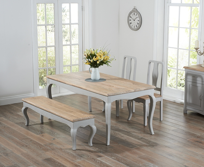 Popular Walcott Oak And Grey 175cm Dining Set With 2 Chairs And Bench With Regard To Dining Tables And 2 Chairs (View 16 of 20)