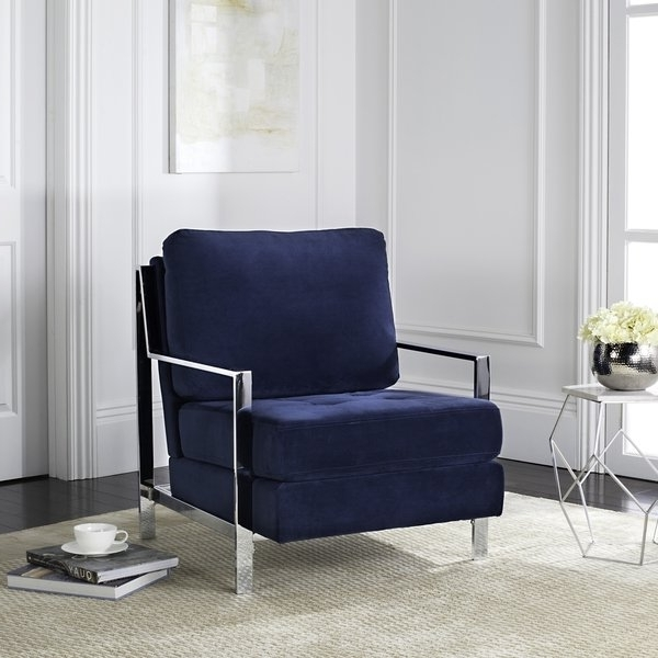 Popular Walden Upholstered Side Chairs Throughout Shop Mid Century Modern Glam Velvet Navy Blue Club Chair – Free (View 12 of 20)