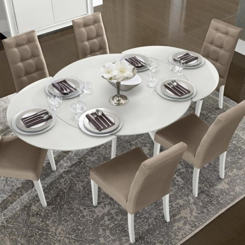Popular White Gloss Round Extending Dining Tables Pertaining To Bianca White High Gloss & Glass Round Extending Dining Table 1.2 (View 15 of 20)