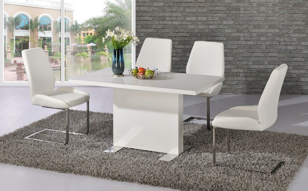 Popular White High Gloss Dining Room Table And 4 Chairs – Homegenies Throughout High Gloss Dining Room Furniture (View 6 of 20)