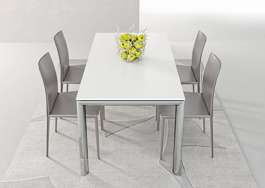 Popular White Melamine Dining Tables Throughout Contemporary Dining Table / Metal / Stained Wood / Melamine – Trilo (View 5 of 20)