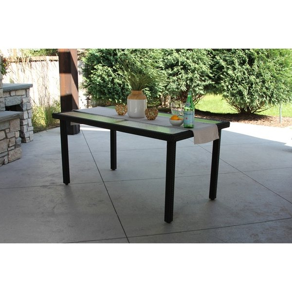 Popular Wicker And Glass Dining Tables Regarding Shop Single Rectangular Black Wicker Dining Table W/ Rec'd Glass (View 15 of 20)