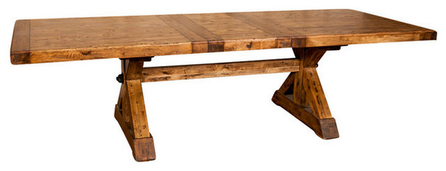 """Popular X Base Trestle Dining Table With Extension 88 110"""" – Rustic – Dining Pertaining To Rustic Dining Tables (Gallery 15 of 20)"""