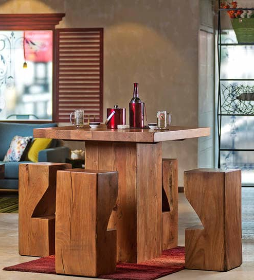 Portland 78 Inch Dining Tables In Trendy Buy Portland Solid Wood Four Seater Dining & Bar Set In Natural (Gallery 9 of 20)