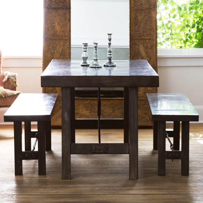 Pottery Barn Benchwright Dining Table And Benchwright Benches Look 4 Throughout Popular Dining Tables And 2 Benches (Gallery 14 of 20)