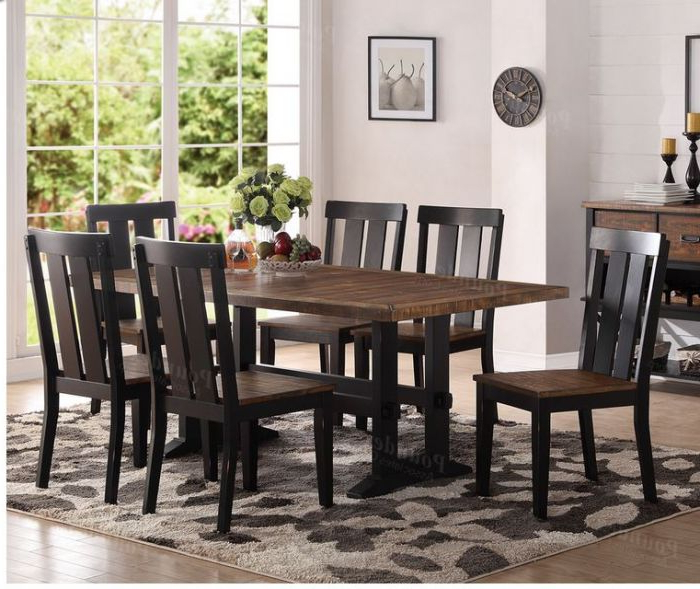 Poundex F2323 Dark Brown Wood Dining Table For Fashionable Dark Brown Wood Dining Tables (Gallery 20 of 20)