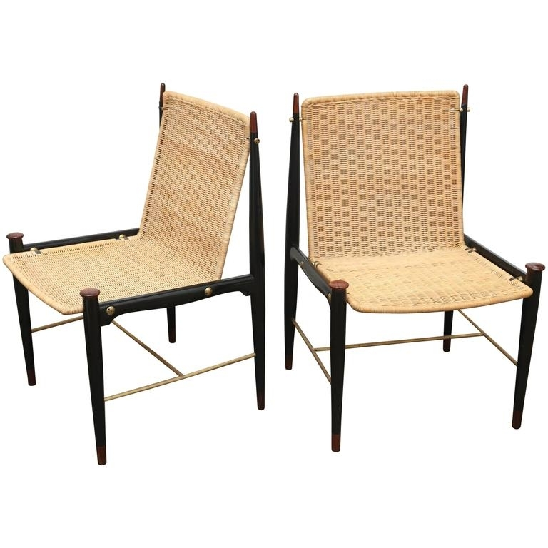 Pr Frank Kyle Mexican Mid Century Modernist Wood, Brass And Wicker Pertaining To Famous Kyle Side Chairs (View 6 of 20)