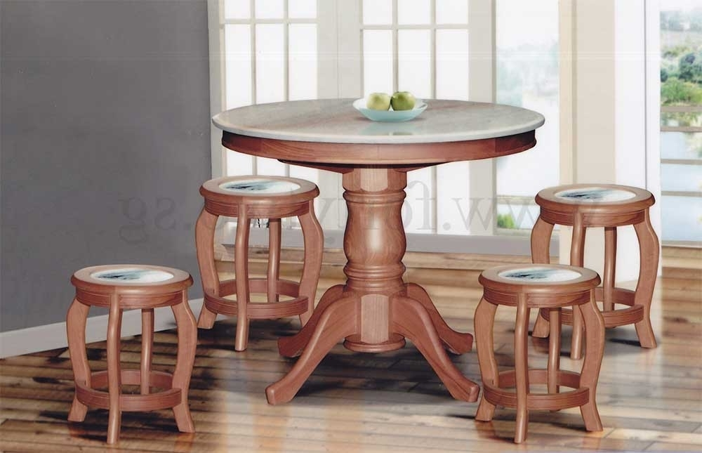 Preferred 3Ft Dining Tables Regarding Dn888 Round Marble Dining Table (3Ft) + 4 Stools (Marble Seat Top (View 5 of 20)