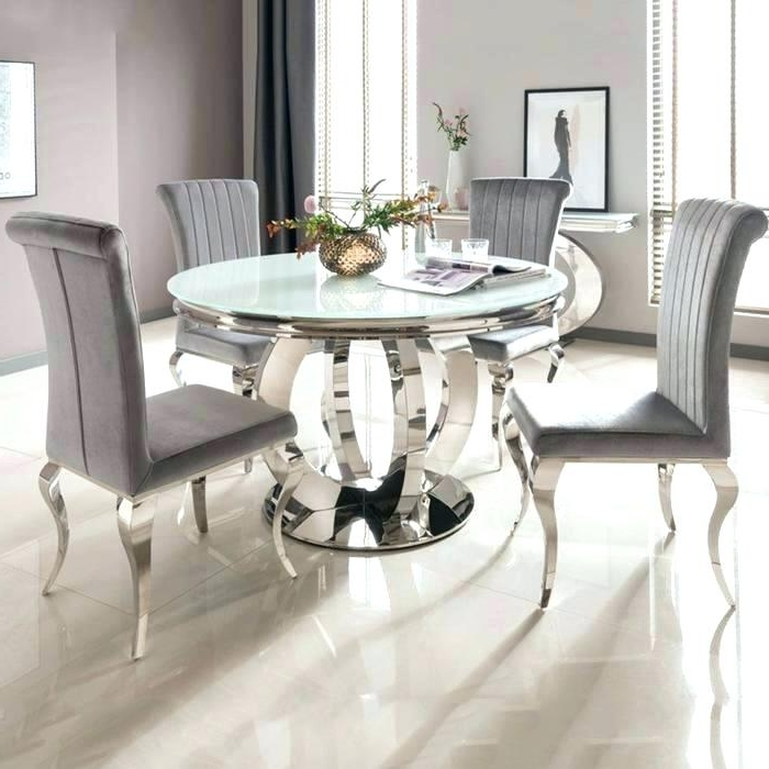 Preferred 6 Seat Round Dining Tables For 6 Seat Dining Table Cool Round Dining Table For 6 White Glass Chrome (View 12 of 20)