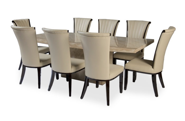 Preferred 8 Chairs Dining Sets Intended For Crema Extra Large Marble Dining Table With 8 Alpine Leather Dining (View 16 of 20)