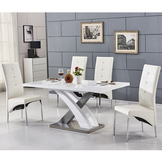 Preferred Axara Extending Small Dining Table White Grey Gloss 4 White With Small Extending Dining Tables And 4 Chairs (View 13 of 20)