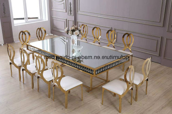 Preferred China Wedding Decoration Golden Frame Mirror Glass Top 12 Seater In Crystal Dining Tables (View 7 of 20)
