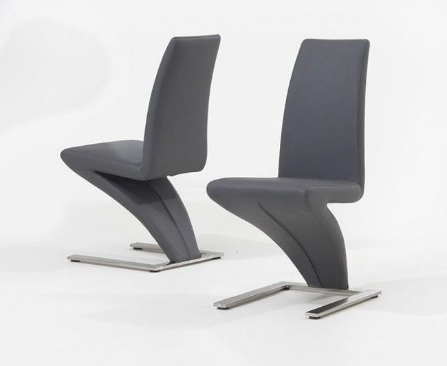 Preferred Chrome Dining Chairs In Pair Of Grey Hereford Pu Leather & Chrome Z Dining Chairs (View 17 of 20)