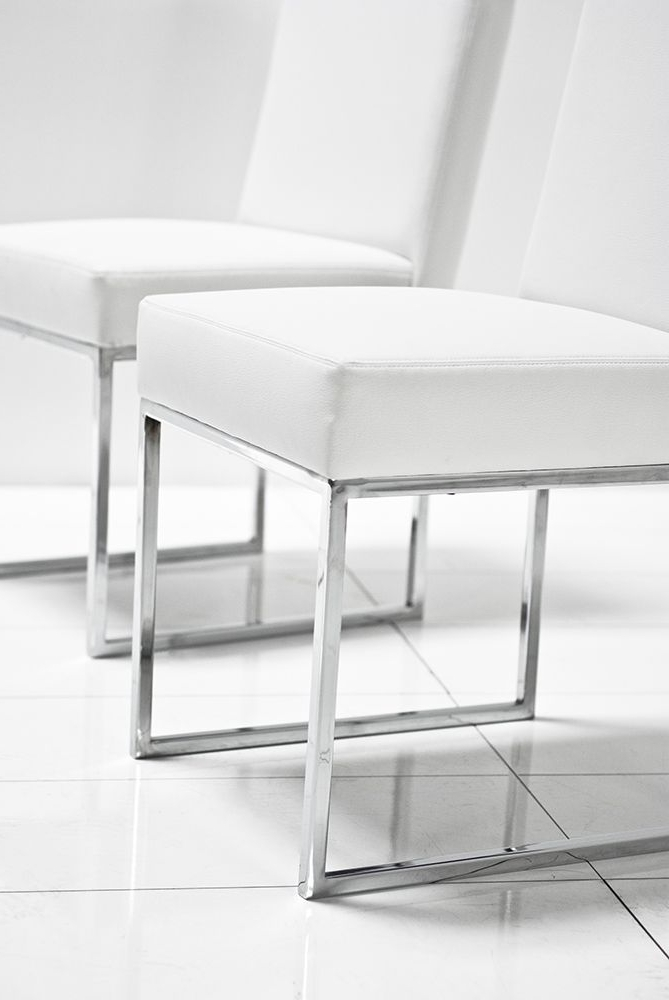 Preferred Chrome Dining Room Chairs Intended For U Chrome White Matte Leather Dining Chair – Roomservicestore (View 17 of 20)