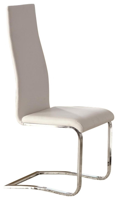 Preferred Chrome Leather Dining Chairs With White Faux Leather Dining Chairs With Chrome Legs, Set Of  (View 19 of 20)