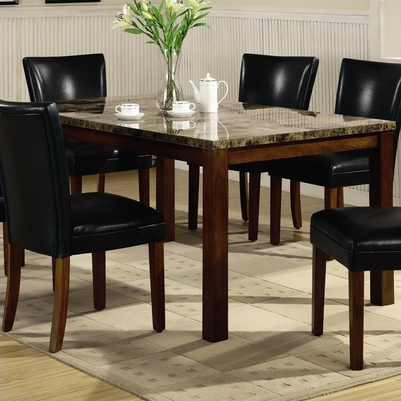 Preferred Coaster Telegraph Marble Top Rectangular Dining Table In Brown – 120310 Inside Rectangular Dining Tables Sets (View 15 of 20)
