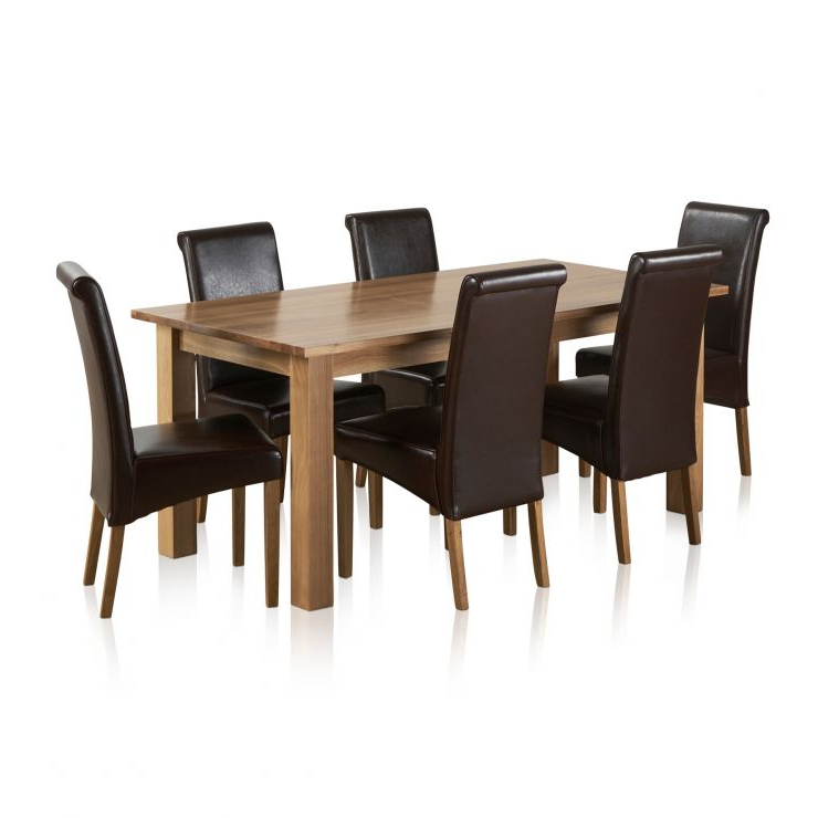 Preferred Contemporary Dining Set In Natural Oak – 6Ft Table + 6 Chairs In Solid Oak Dining Tables And 6 Chairs (Gallery 17 of 20)