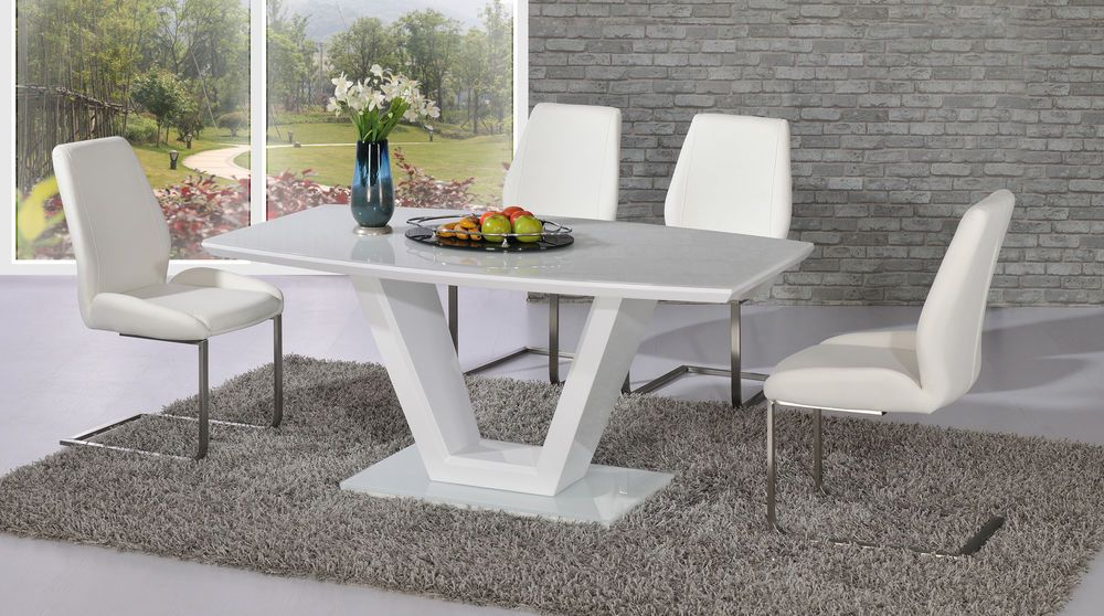 Preferred Contemporary V White High Gloss And Glass Dining Table With 4X White With White Gloss And Glass Dining Tables (View 12 of 20)