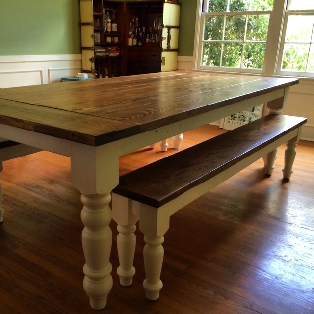 Preferred Country Farmhouse Dining Table With Oversized Spun Legs – Farmhouse Throughout Country Dining Tables (View 5 of 20)