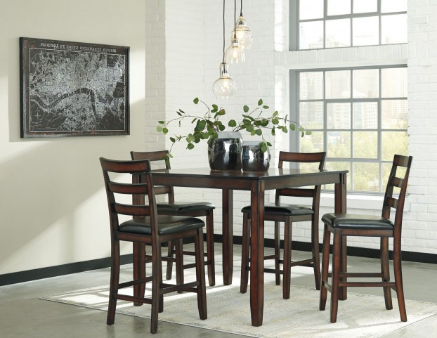 Preferred Coviar Brown 5 Piece Counter Height Dining Room Set From Ashley Inside Hyland 5 Piece Counter Sets With Stools (View 16 of 20)