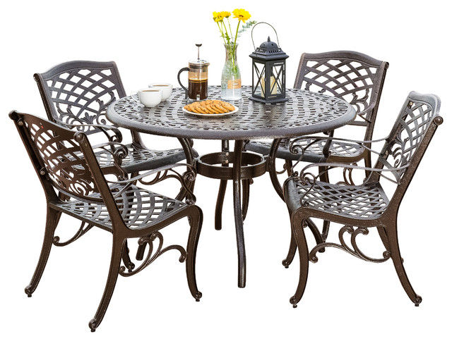 Preferred Covington Outdoor Cast Aluminum Dining 5 Piece Set – Traditional Regarding Kirsten 5 Piece Dining Sets (View 11 of 20)