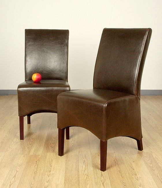 Preferred Dark Brown Leather Dining Chairs Intended For Shop Rome Dark Brown Leather Dining Chair (Set Of 2) – Free Shipping (Gallery 15 of 20)