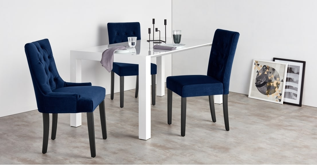 Preferred Dining Chairs With Blue Loose Seat With Set Of 2 Dining Chairs In Royal Blue Velvet, Flynn (View 12 of 20)