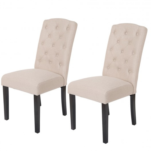 Preferred Fabric Dining Chairs Pertaining To Set Of 2 Modern Accent Fabric Dining Chairs – Kitchen & Dining Room (View 17 of 20)