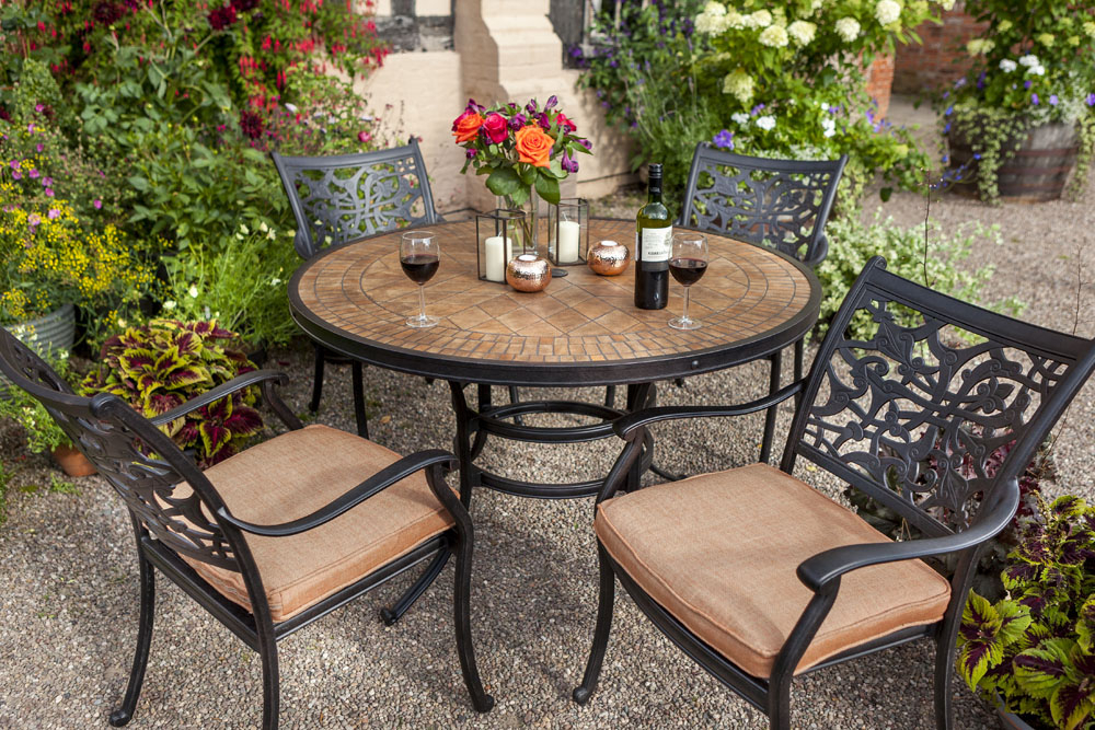 Preferred Garden Dining Tables Within Celtic Aria 4 Seat Round Garden Dining Furniture Set – David Domoney (View 17 of 20)