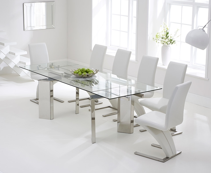 Preferred Glass Extendable Dining Tables And 6 Chairs In Glass Extending Dini White Glass Dining Table And 6 Chairs With (Gallery 17 of 20)