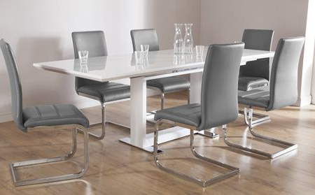 Preferred Hi Gloss Dining Tables Sets Pertaining To Tokyo White High Gloss Extending Dining Table And 6 Chairs Set (View 15 of 20)