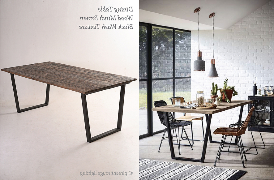 Preferred Industrial Style Dining Room With Wood Mindi Brown Dining Table For Industrial Style Dining Tables (View 18 of 20)