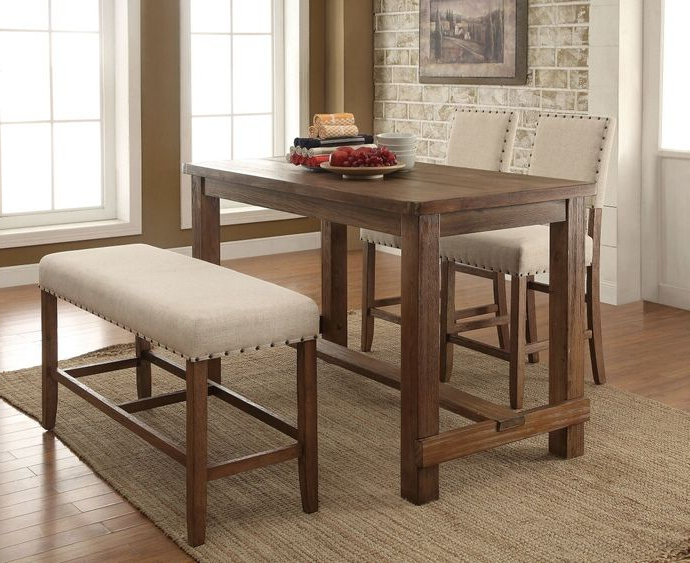 Preferred Jaxon 5 Piece Extension Counter Sets With Wood Stools In Cm3324Pt 4Pc 4 Pc Sania Natural Tone Finish Wood Counter Height (View 16 of 20)