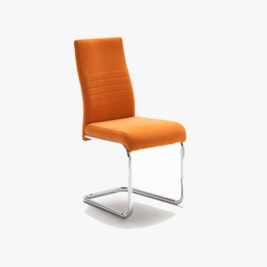 Preferred Jonas Metal Swinging Orange Dining Chair 21898 Furniture In Pertaining To Burton Metal Side Chairs With Wooden Seat (View 10 of 20)