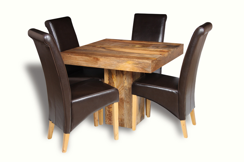Preferred Light Dakota 90Cm Cube Dining Table & 4 Rollback Chairs (Gallery 3 of 20)