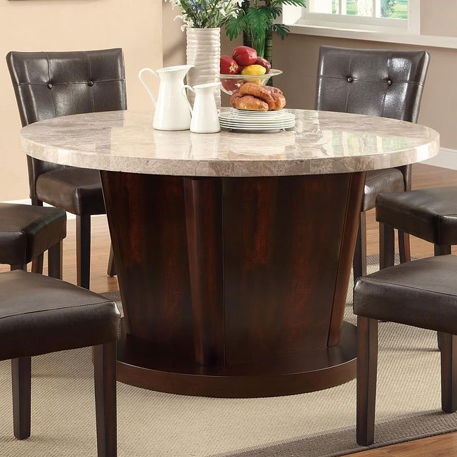 Preferred Milton Dining Tables Throughout Milton Round Dining Table W/ Light Marble Top Coaster Furniture (View 17 of 20)