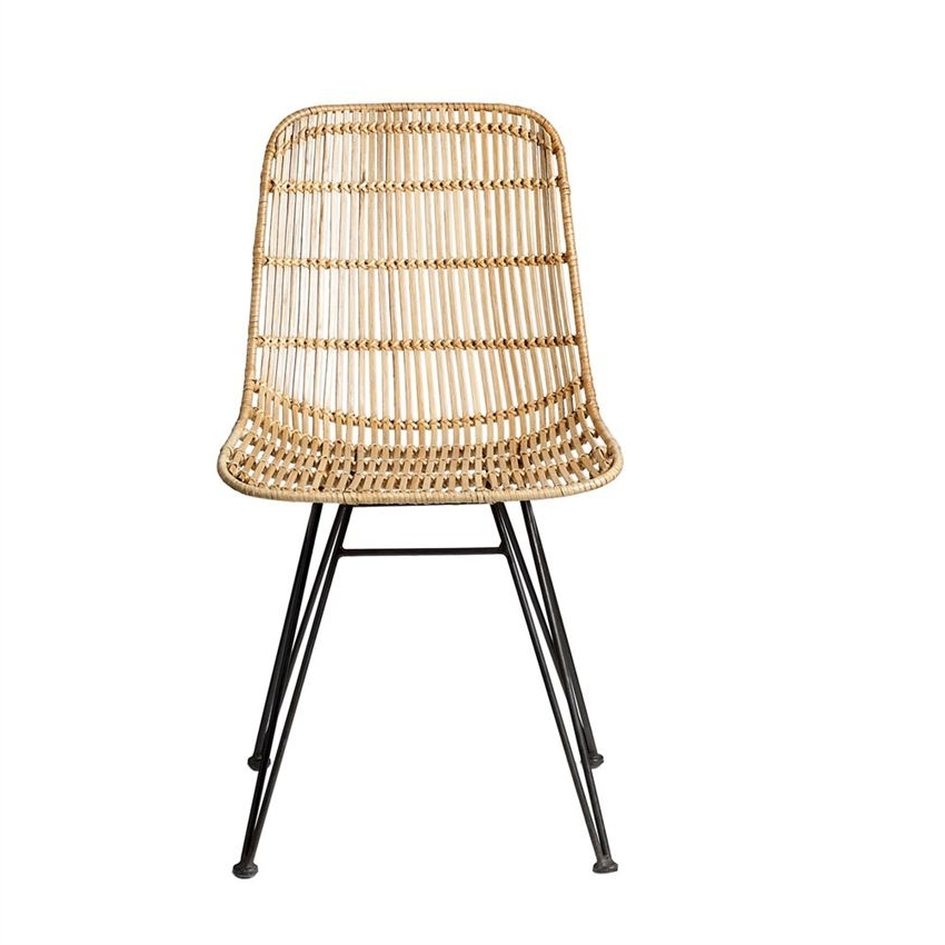 Preferred Natural Rattan Metal Chairs For Natural Braided Rattan Chair With Black Metal Frame (View 9 of 20)