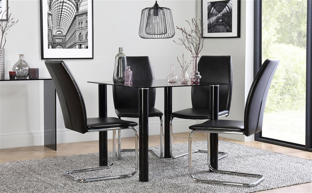 Preferred Nova Square Black Glass Dining Table – With 4 Pica Black Chairs (Gallery 8 of 20)