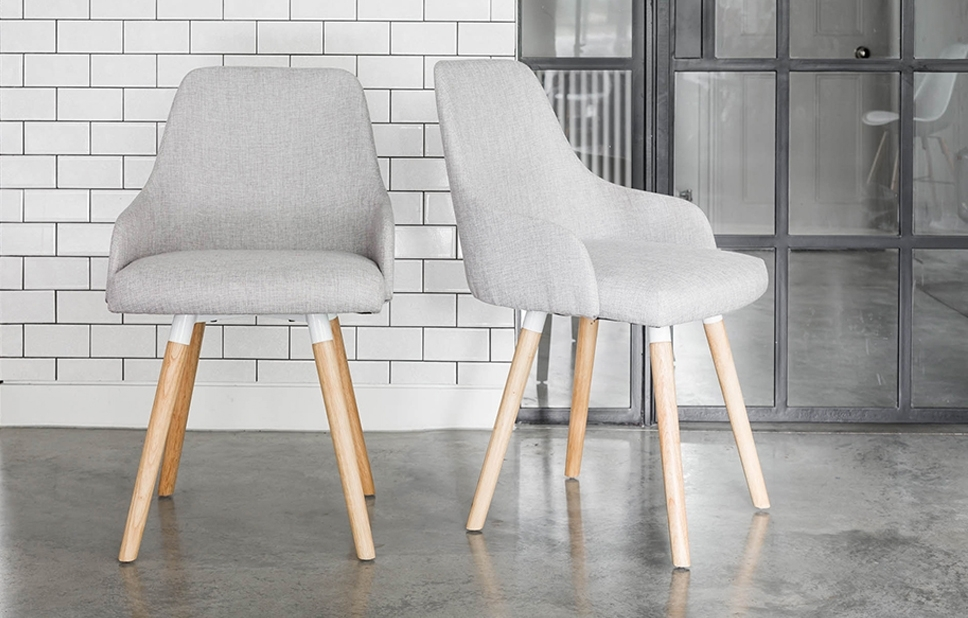 Preferred Oak Dining Chairs With Grey Fabric – Home Furniture – Out & Out Original Inside Grey Dining Chairs (View 18 of 20)