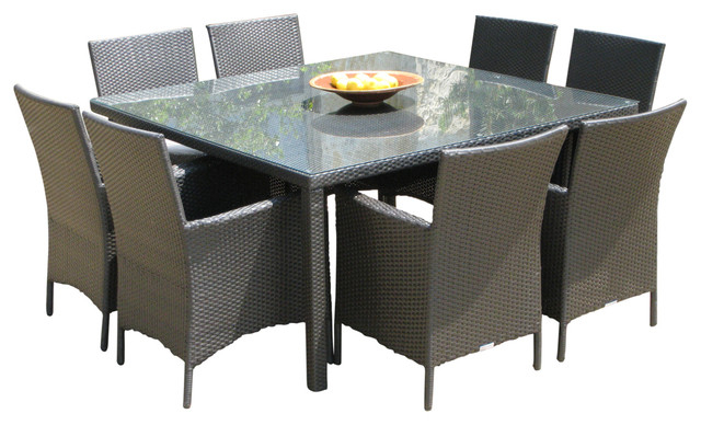 Preferred Outdoor Dining Table And Chairs Sets In Outdoor Wicker New Resin 9 Piece Square Dining Table And Chairs Set (Gallery 10 of 20)