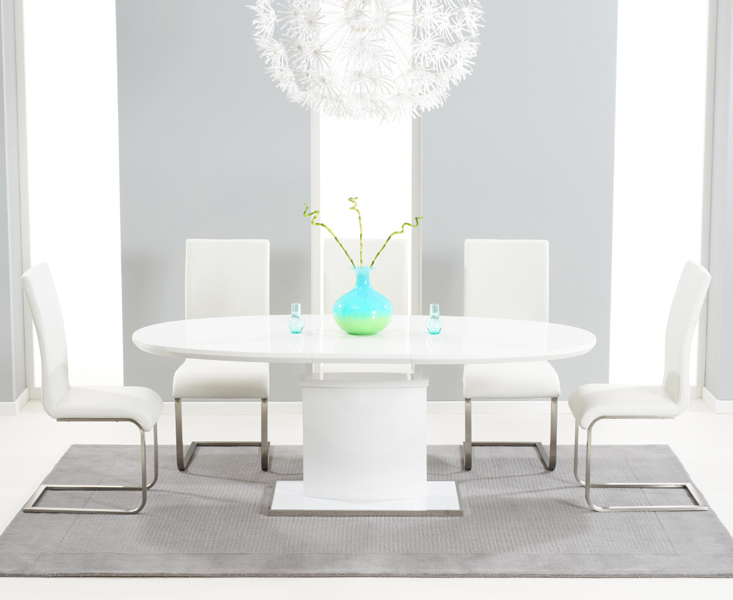 Preferred Oval White High Gloss Dining Tables With Regard To Santana 160Cm White High Gloss Extending Pedestal Dining Table With (View 16 of 20)