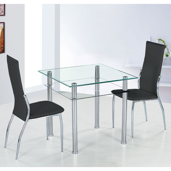 Preferred Pisa Dining Tables Pertaining To Como Square Glass Dining Table And 4 Black Pisa Dining (View 17 of 20)